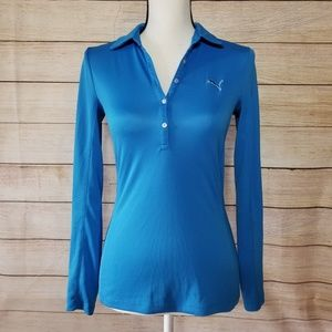 Puma blue long sleeve polo (2-188)
